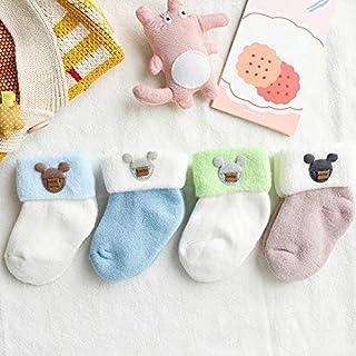 lejia, 4 Pares de bebé Terry Calcetines Largos de Dibujos Animados del Tubo Que ensanchan Felpa Calcetines Gruesos del Invierno del otoño del recién Nacido Calcetines de los niños Calcetines de algodón