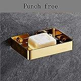 WangYi Regal- Punch-Free Edelstahlseifendose (Farbe : Gold, größe : 13.5x9.7x2.5cm)
