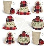OWUYUXI 16 Pcs Burlap Christmas Ornaments 2020 Set, Funny Unique Mini Christmas Tree Ornaments Bulk, Rustic Christmas Decorations Clearance Decor, Small Red Plaid Christmas stockings/ Ball/ Tree/ Bell