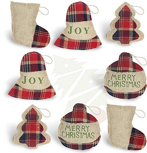 OWUYUXI 8 Pcs Burlap Christmas Ornaments 2020 Set, Funny Unique Mini Christmas Tree Ornaments Bulk, Rustic Christmas Decorations Clearance Decor, Small Red Plaid Christmas Stockings/ Ball/ Tree/ Bell