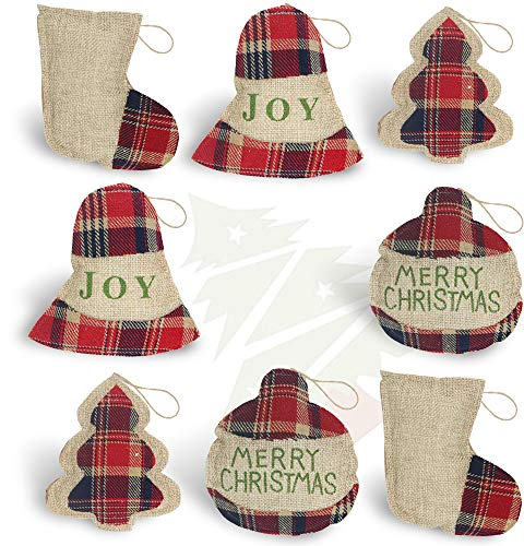 OWUYUXI 8 Pcs Burlap Christmas Ornaments 2020 Set, Funny Unique Mini Christmas Tree Ornaments Bulk, Rustic Christmas Decorations Clearance Decor, Small Red Plaid Christmas Stockings/ Ball/ Tree/ Bell