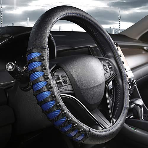 West Llama Auto Lenkrad Abdeckung mit Ledernägeln Anti-Rutsch-Design, Lenkradhülle 15 Zoll Universal Fit - Blau