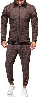 Yeirui Men Zip Front 2-Piece Tracksuit Jacket Plaid Joggers Set