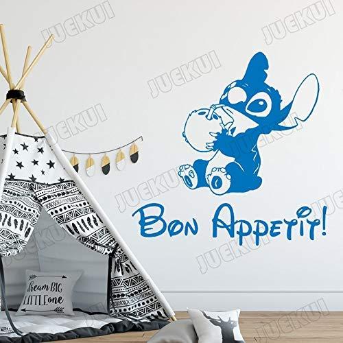 Stitch Potable Lait De Noix De Coco Bande Dessinée Stickers Muraux Pour Kods Chambre Doux Décor À La Maison Vinyle Stickers Muraux Chambre Peintures Murales Affiche Ta_110X110Cm