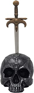 Spooky Human Skull with Sword Letter Opener in Metallic Look for Scary Halloween Decorations and Decorative Skulls & Skeletons Figurines As Horror Movie Gothic Décor or Office Gifts for Men