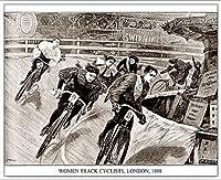 ポスター アーティスト不明 Women Track Cyclists 1898 額装品 アルミ製ベーシックフレーム(ホワイト)