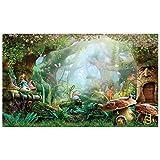 Allenjoy 5X3ft Spring Cartoon Fairy Tale Mushroom Enchanted Forest Wonderland Photography Backdrop Children Kids Fancy Birthday Party Decor Newborn Baby Shower Fantasy Backgrounds Studio Photo Booth