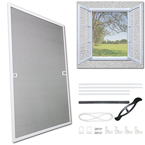 Fliegengitter Fenster Fiberglas Mückenschutz Weiß Insektenschutzgitter UV-Schutz Insektenschutz Gaze Alu Rahmen Wasserdicht Montage ohne Bohren Balkone Fenster (120X140CM)