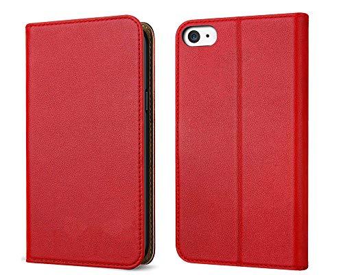 FDTCYDS Etui iPhone 4, Coque iPhone 4s Pochette Portefeuille en Cuir Véritable Coque de Protection pour Housse Apple 4 / 4s avec Fonction Stand – Red/Rouge