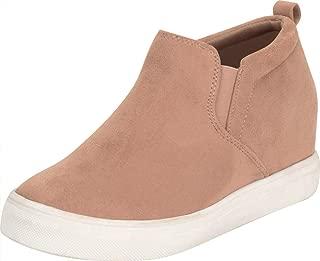 Cambridge Select Women's Stretch Slip-On Chunky Platform Low Hidden Wedge Fashion Sneaker