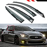 infiniti g37 window deflectors - Cuztom Tuning Fits for 2014-2019 Infiniti Q50 VIP JDM Clip-on Type Smoke Tinted Window Visor with Black Trim