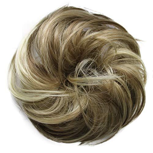 PRETTYSHOP Haarteil Haargummi Hochsteckfrisuren unordentlicher Dutt leicht gewell. Farbe: braun blond mix G38B