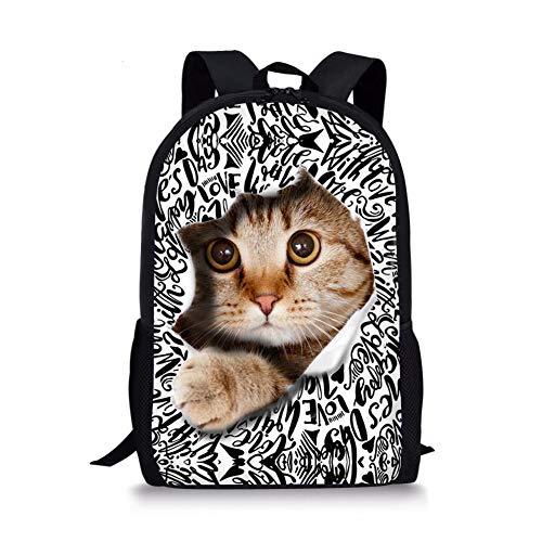 Nopersonality Sac à dos d'école pour filles et garçons - Imprimé animal, chat (Gris) -...