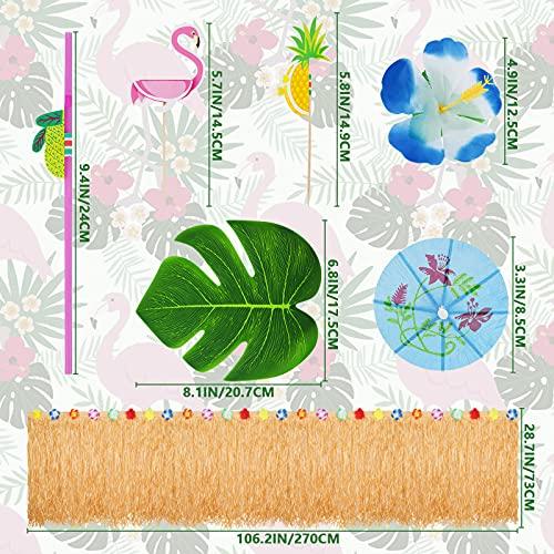 Wonnell 145 Piezas Hawaiano Luau Falda de Mesa Set de Decoración,Faldones de Mesa,Juego de Decoración de Falda de Mesa con 26 Flores,Decoración Hawaiana para Tarta,Fiesta Temática Hawaiana