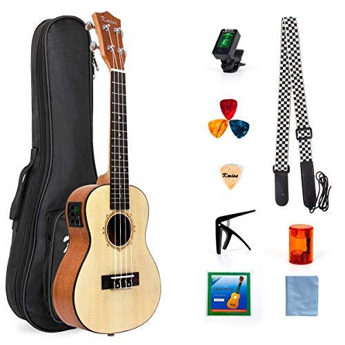 Eléctrica Kmise ukelele concierto de abeto sólido ukelele 23inch ukelele Hawaii guitarra con Professional Cable de guitarra y Starter Kit