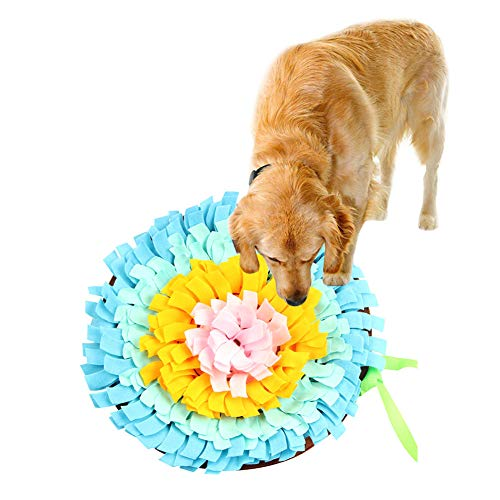 Per Dog Snuffle Mat Round Snack Feeding Slow Feeders Sniffing Nosework Training Pad Fun Playmat Toys for Dog Relieve Stress 18IN (Sky Blue)