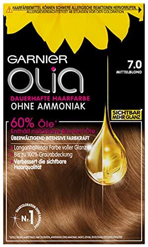 Garnier Olia Haar Coloration Mittelblond 7.0 / Färbung für Haare enthält 60% Blumen-Öle für intensive Farbkraft - Ohne Ammoniak - 3 x 1 Stück