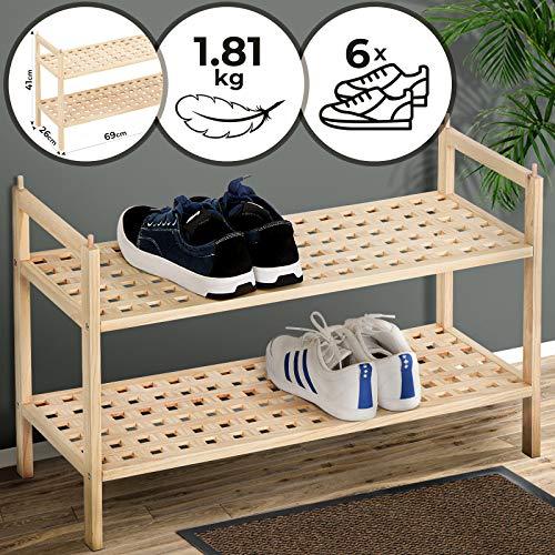 Miadomo schoenenrek met 2 planken, 69/26/41 cm, biedt plaats aan meer dan 6 paar schoenen, stapelbaar, walnoothout - schoenenrek, schoenenkast, schoenenrek, schoenenrek