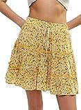 Mujeres Casual Verano Falda Una Línea Alto Cintura Floral Arrugado Bohemia Mini Falda Amarillo M
