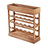 HOMCOM 4-Tier Wooden Wine Rack Board 24 Bottles Stackable Display Storage Holder Shelves Stand Kitchen Home w/Countertop (Natural Wood)