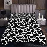 Kuhmuster Tagesdecke 170x210cm Kuh Drucken Bettüberwurf für Erwachsene Einfache Moderne abstrakte Kunst Steppdecke Tiermuster Schwarz Weiß Wohndecke