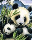 Pintura digital sin marco Panda, imagen de madre e child, pintura al óleo por números, decoración de pared, pintura DIY sobre lienzo para decoración del hogar, regalo 40X50Cm