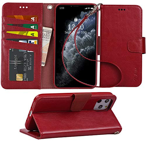 "Arae Wallet Case for iPhone 11 Pro 5.8"" with Wrist Strap and Credit Card Holders (Wine red)"