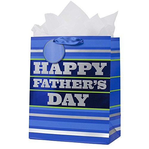"""Hallmark 13"""" Large Father's Day Gift Bag with Tissue Paper (Blue Stripes, """"Happy Father's Day"""") for Dads, Step-Dads, Grandfathers, Uncles, Dads-to-Be"""