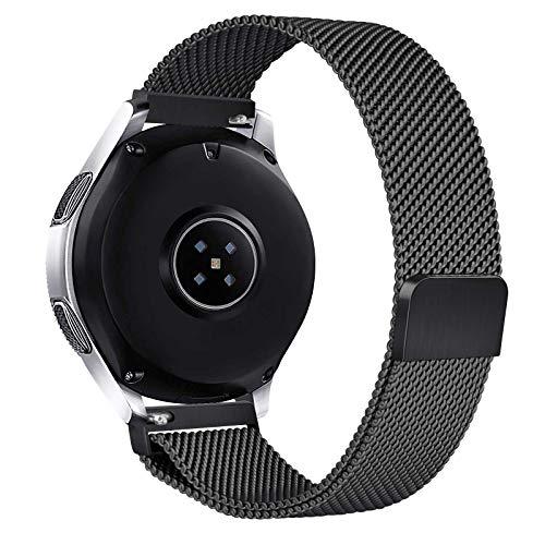 Cinturino 22mm Compatibile con Samsung Galaxy Watch 46mm Cinturino / Gear S3 Frontier / Galaxy Watch 3 45mm , Morbido Cinturino in Metallo per Classic / Samsung Gear S3 (Nero)
