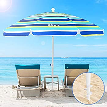 Duerer 6.5ft Beach Umbrellas for Sand with Anchor Heavy Duty Windproof Height Adjustable Tilt Aluminum Pole Portable with Carry Bag for Outdoor Patio Garden