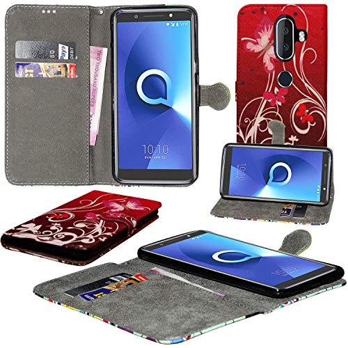 Alcatel 3V Hülle, Mobile Stuff Alcatel 3V Hülle [Kartenhalter] [Magnetverschluss] Premium Leder Flip Wallet Hülle Cover für Alcatel 3V Smartphone, Leder, Schmetterling lila, Galaxy A6+ (2018)
