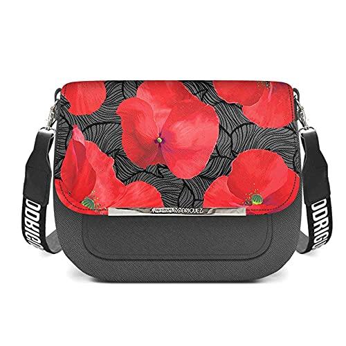 Alviero Rodriguez Saylor Poppy Borsa a tracolla in tessuto saffiano con chiusura magnetica con fiori rossi neri