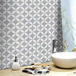 Moroccan Mosaic & Tile House CTP07-10 Amlo Handmade Cement Tile 8''X8'' Gray/White