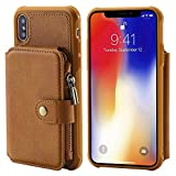 Flip Case Cover for iPhone XS 5.8inch Brown Leather