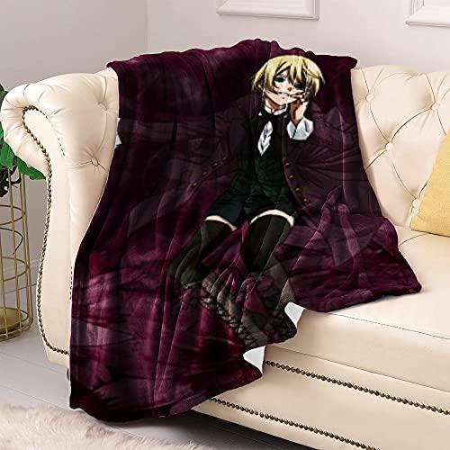 Mantas para Cama Black Butler Fleece Blankets Queen Size para Todas Las Estaciones Manta de Cama de Lujo de Microfibra de Felpa súper Suave y cálida para niños Adultos 39.37 'X59.05 (100X150Cm)