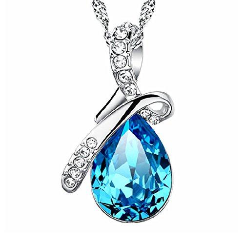 Besflily biżuteria eleganckie niebieskie krople wody sześcienna cyrkonia wisiorek naszyjnik z łańcuszkiem 45 cm (18 cali) prezent dla kobiet dziewcząt