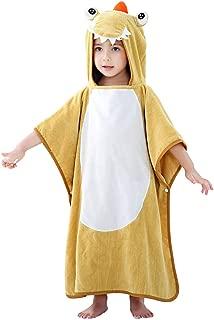 IDGIRLS Kids Cotton Terry Bath Towels Cute Animal Embroidery Hooded Poncho for Girls Boys Bathing Swim Beach Bathrobes Yellow