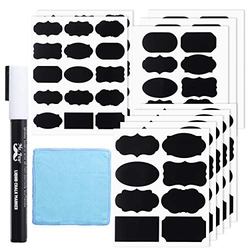 Mr. Pen黒板ラベル 100枚 様々な形 ホワイトチョークマーカー1個 小さなタオル ラベル ラベルステッカー ストレージビン用ラベル ステッカーラベル ボトルラベル フードラベル ジャーラベル