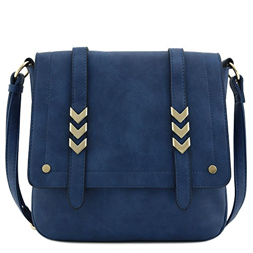 Double Compartment Large Flapover Crossbody Bag (Navy Blue)