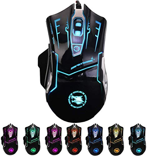 RGB Light up Wired Computer Mouse - Durable USB Laptop Led Mice w/ 7 Color Backlit, 4 Adjust DPI Up to 3200 for Gaming, Silent & Stable PC Corded Mouse for Mac MacBook Windows Vista Linux PS4