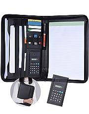 Aibecy A4 Portafolio de Cuero Pu, Carpeta, Organizador de documentos con cremallera, calculadora, tarjetero y Bloc Not