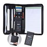 Aibecy Schreibmappe, A4 PU Leder Business konferenzmappe, Dokumentenmappe Ordner Organizer, mit Taschenrechner Visitenkartenhalter Memo Notizblock