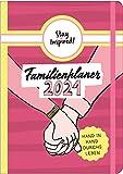 Familienplaner 2021 Hardcover mit 5 Spalten für bis zu 5 Personen in DIN A5. Familienkalender 2021 mit Extra-Seiten für viel Platz zur Essensplanung, ... Stundenplan, Feiertage, Schulferien, uvm.