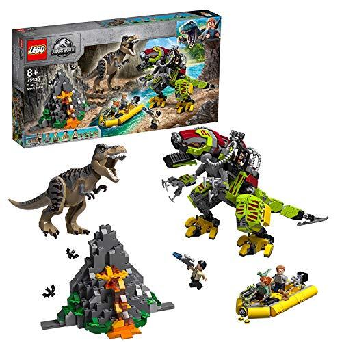 LEGO JurassicWorld BattagliatraT.RexeDino-Mech Action Figure per Giochi di Azione, Dinosauri Giocattolo per Bambini, 75938