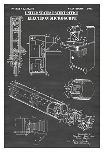 Electron Microscope Patent Print Art Poster: Choose From Multiple Size and Background Color Options