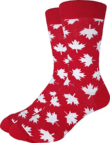 Good Luck Sock Men's Canada Maple Leaf Crew Socks,Large (Shoe size 7-12),Red