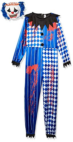 Smiffys-44327T Disfraz de payaso siniestro deluxe, con traje entero, careta de goma EVA, cerebr, Color azul, T - Edad 12 años + + (Smiffy
