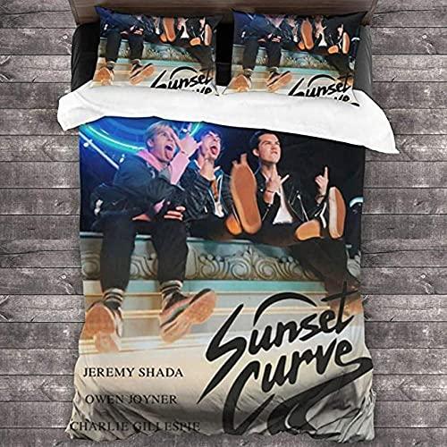 HSBZLH 3-delat sängkläder set kung solnedgång kurva påslakan, 3-delat sängkläder set dubbelsäng supermjukt, bekvämt och lyxigt mikrofiber påslakan, med 2 örngott