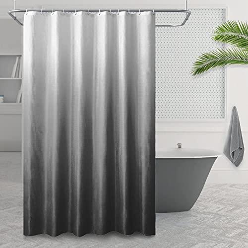 Stoff strukturierte Ombre Duschvorhang, Polyester Gradient Badvorhänge, Bad Vorhang wasserdicht mit 12 Haken, Farbdesign Maschinenwaschbar 1 Panel (Dunkelgrau, 180 x 200 cm)