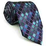 Shlax&Wing Neu Entwurf Blau Checkers Herren Krawatte Geschäftsanzug Suit Extra Lang